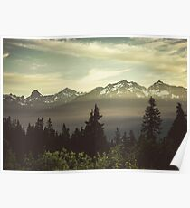 Pacific Northwest Sunrise - Northern Cascade Mountain Forest Poster