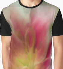 Fleur Blur-Abstract Pink, Yellow, White Lily Graphic T-Shirt