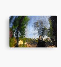 defocused outdoors Abstract photographed through wet glass Canvas Print
