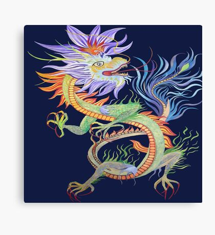 Bright and Vivid Chinese Fire Dragon Vector Canvas Print