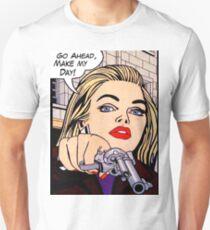 Pop art blond woman with gun T-Shirt