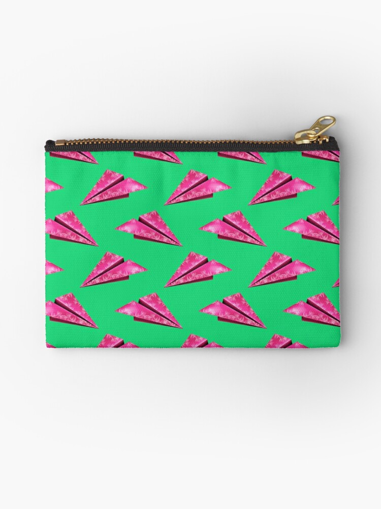 Pink Paper Plane On Green Base by MyArt23