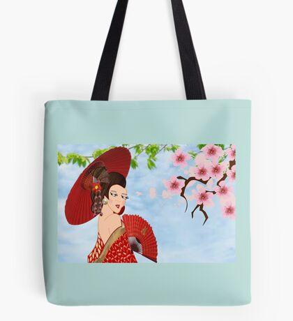Geisha& Japanese fan(15521  views) Tote Bag