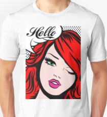 Pop art girl wink, speech bubble, hello! T-Shirt