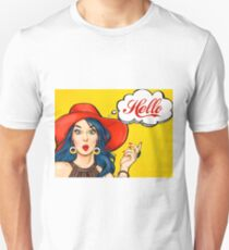 Pop art girl with red hat, yellow background, Hello! T-Shirt