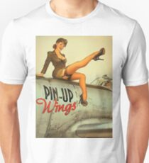 Pin up sexy girl pilot on a plane, army poster T-Shirt