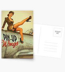 Postales Pin up chica sexy piloto en un avión, cartel del ejército