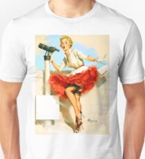 Pin up sexy girl with spy glass, vintage poster T-Shirt