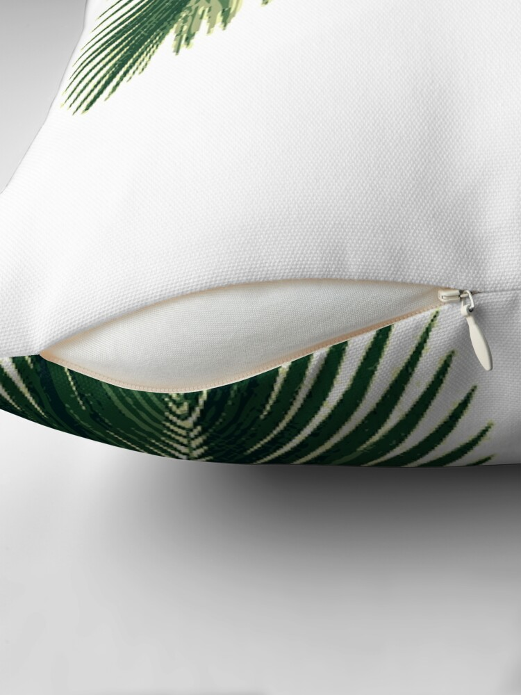 Alternate view of Tropical Palm Leaves Throw Pillow