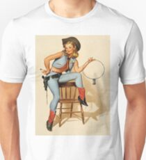 Pin up cowboy girl with keys, vintage poster T-Shirt