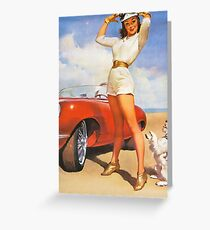 Pin up girl with sport car and her dog, vintage poster Greeting Card