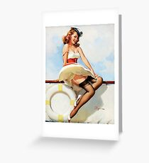 Pin up sailor girl on a ship Greeting Card