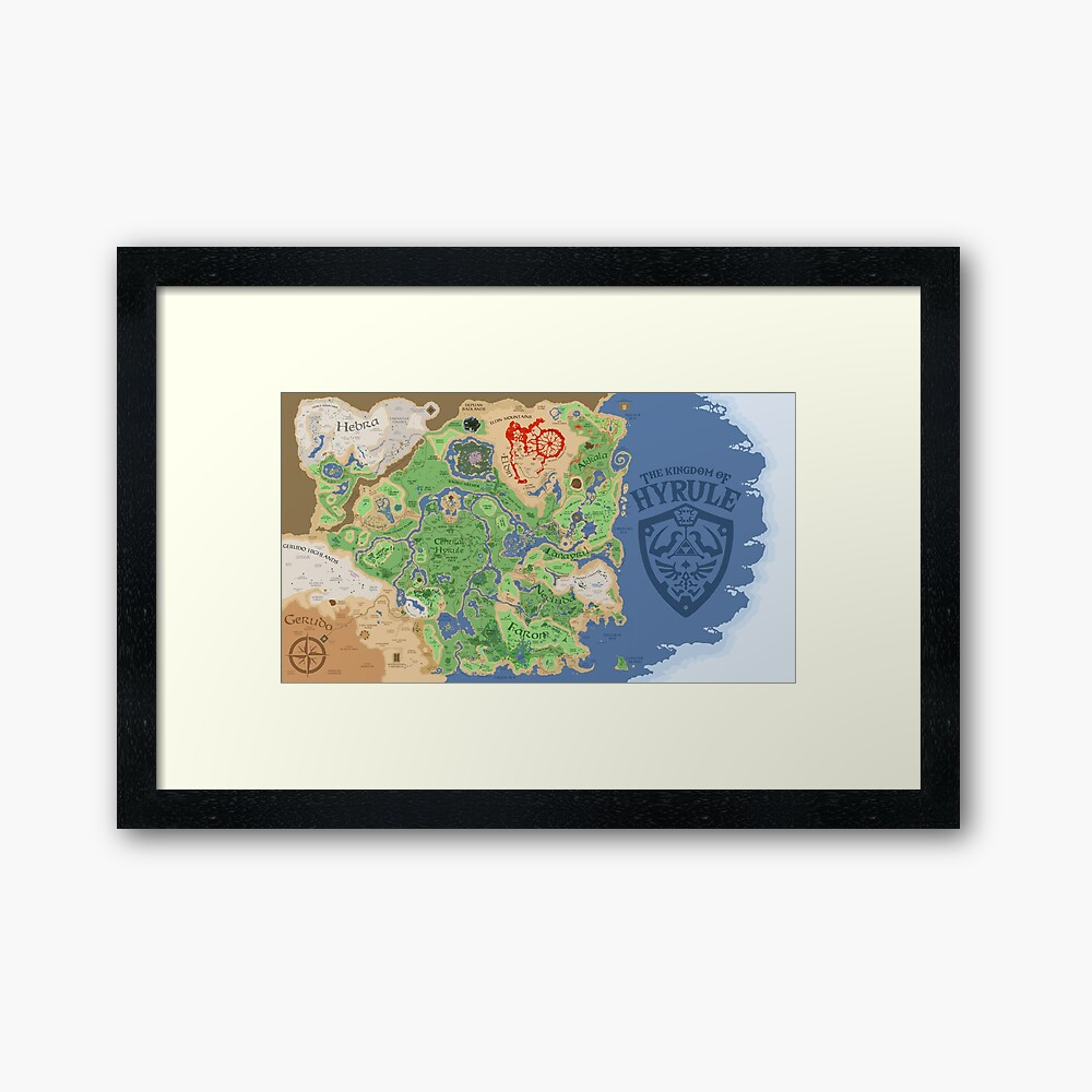 Breath of the Wild Hyrule Map Framed Art Print
