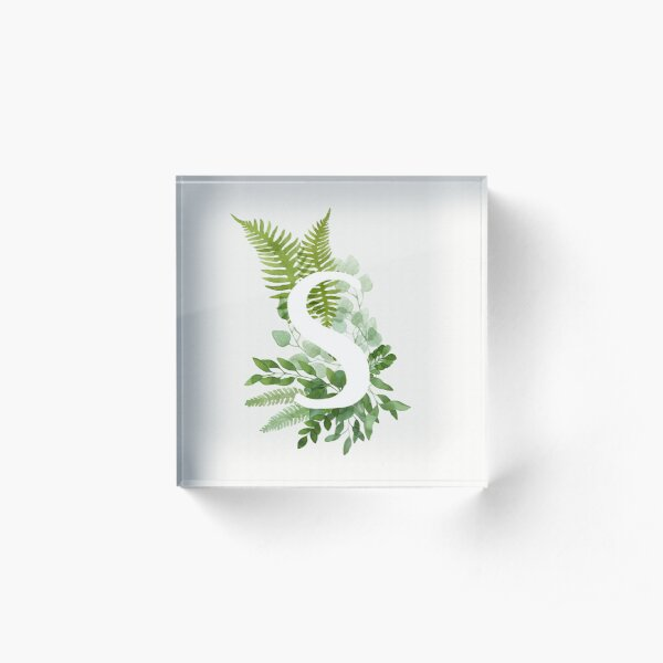 Floral letter S Acrylic Block