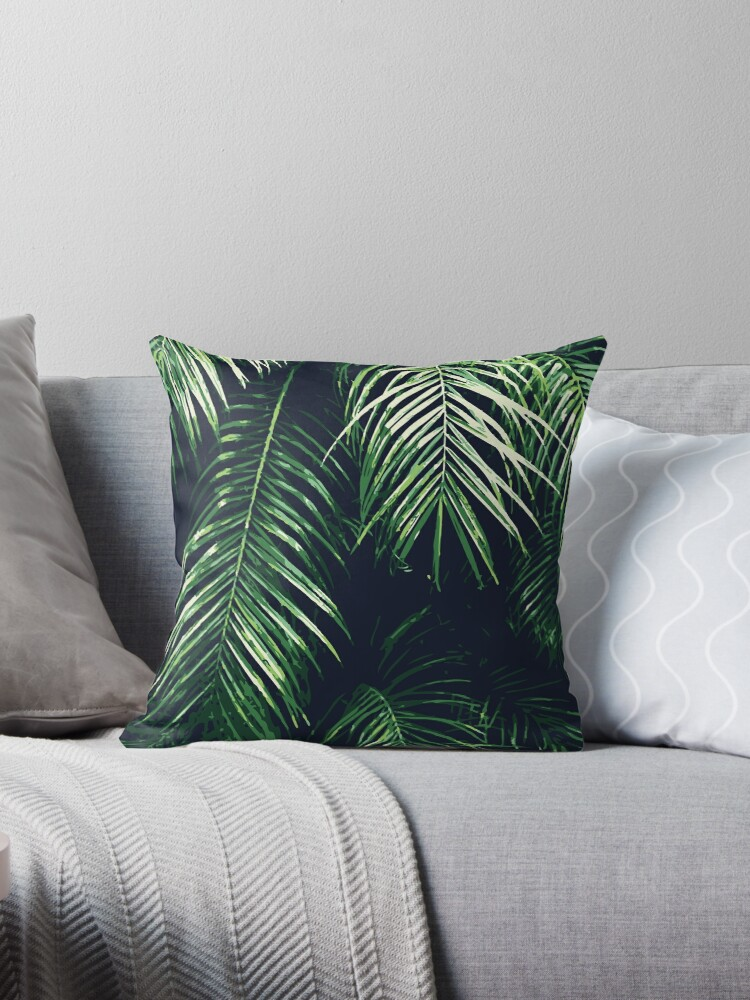 Magnificent Tropical Palm Leaves Throw Pillow By Myart23 Ocoug Best Dining Table And Chair Ideas Images Ocougorg