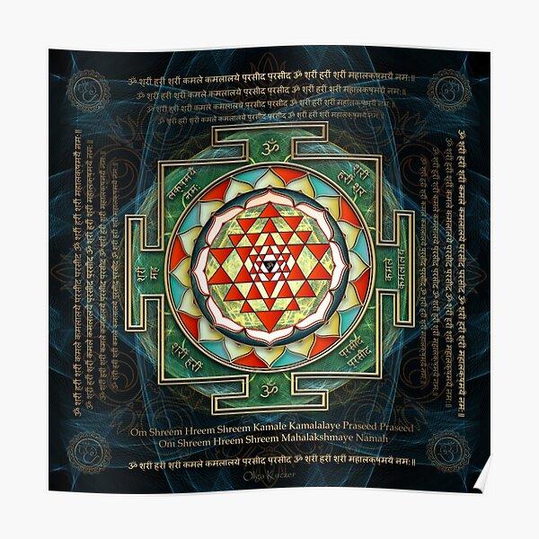 Maha Lakshmi (Laxmi) Mantra & Shri Yantra - Wealth Giving Poster