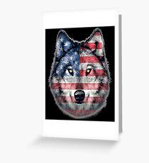 American Flag wolf Greeting Card