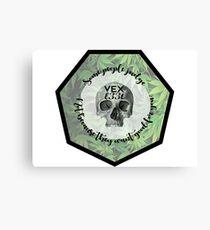 Vexl33t Quote Skull Canvas Print