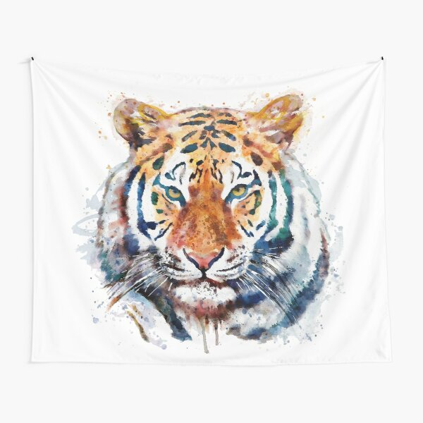 Tiger Head watercolor Tapestry