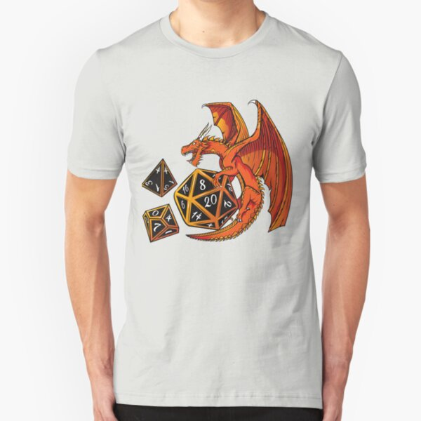 The Dice Dragon - D20, D4, D10, Dungeons & Dragons Slim Fit T-Shirt