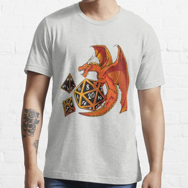 The Dice Dragon - D20, D4, D10, Dungeons & Dragons Essential T-Shirt
