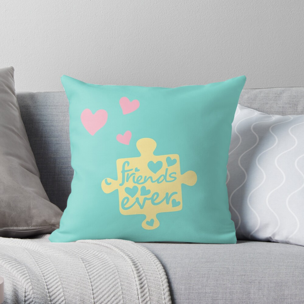 Pastel Best Friends Forever Connection Puzzle (right) Throw Pillow
