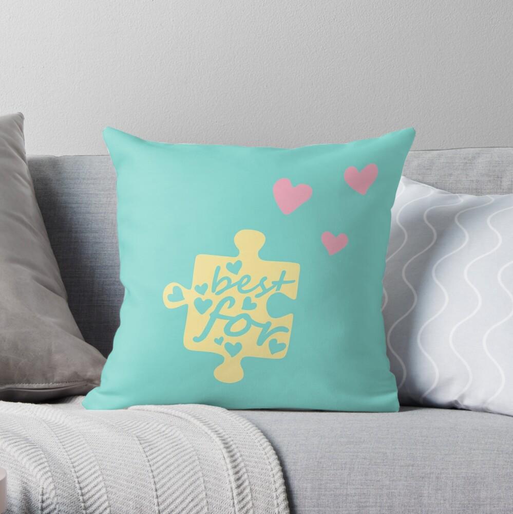 Pastel Best Friends Forever Connection Puzzle (left) Throw Pillow