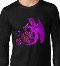 Pink Dice Dragon - d20 d10 d4 Long Sleeve T-Shirt