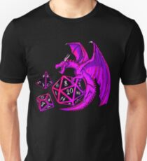 Pink Dice Dragon - d20 d10 d4 Slim Fit T-Shirt