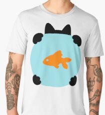 Fishbowl and a Cat Pattern Men's Premium T-Shirt