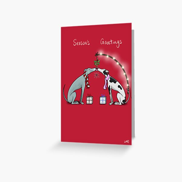 Hounds Under the Mistletoe Greeting Card