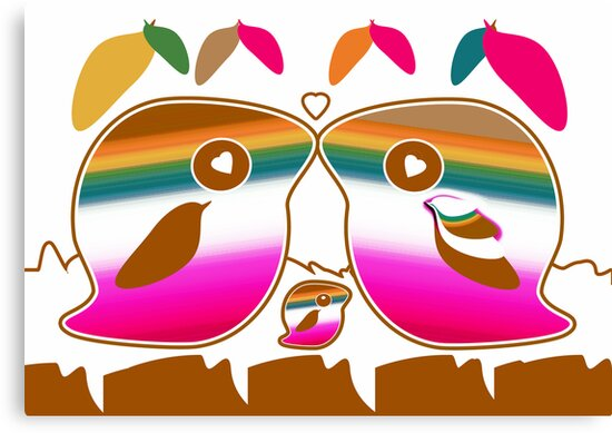 Tropical Love Bird Family by migaloomagic