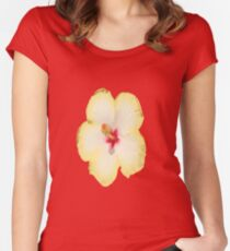 Yellow Hibiscus Flower Vector Women's Fitted Scoop T-Shirt