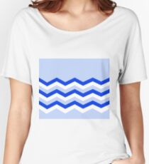 Abstract, geometric, zigzag, strips - blue and white. Women's Relaxed Fit T-Shirt