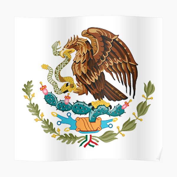 MEXIKO. MEXIKANER. EAGLE SYMBOL, mexikanische Flagge, Flagge von Mexiko, Bandera de México, schlicht und einfach. Poster