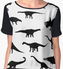 Black and white dinosaurus pattern Women's Chiffon Top