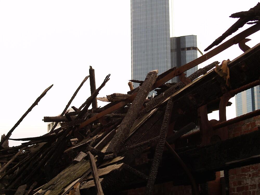 The burned home in sydney by Steve Lindsay