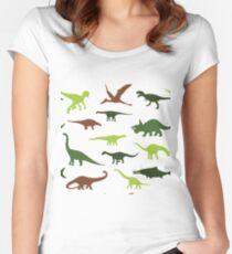 Green cute dinosauruses Women's Fitted Scoop T-Shirt