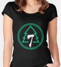 Sugar Pine 7 Logo Black Women's Fitted Scoop T-Shirt