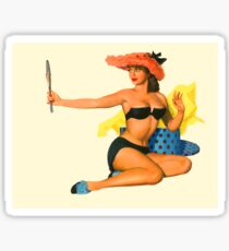 Pin up girl with funny red hat looking herself at mirror Sticker