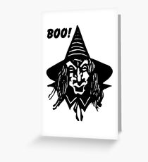 Creepy Witch Saying Boo Greeting Card