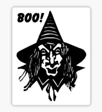 Creepy Witch Saying Boo Sticker