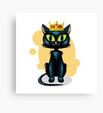 Black cat in golden crown Canvas Print
