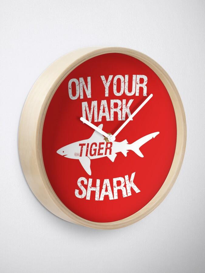 Alternate view of On Your Mark Tiger Shark - Barron Tshirt Clock