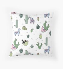 Cacti Llamas Throw Pillow