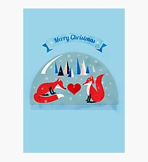 Merry Christmas- winter foxes in love Photographic Print