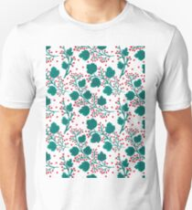 Hand painted watercolor red green floral pattern T-Shirt