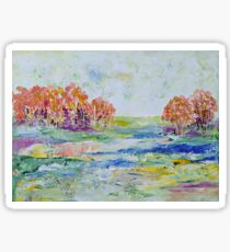 View with Peach Trees Sticker