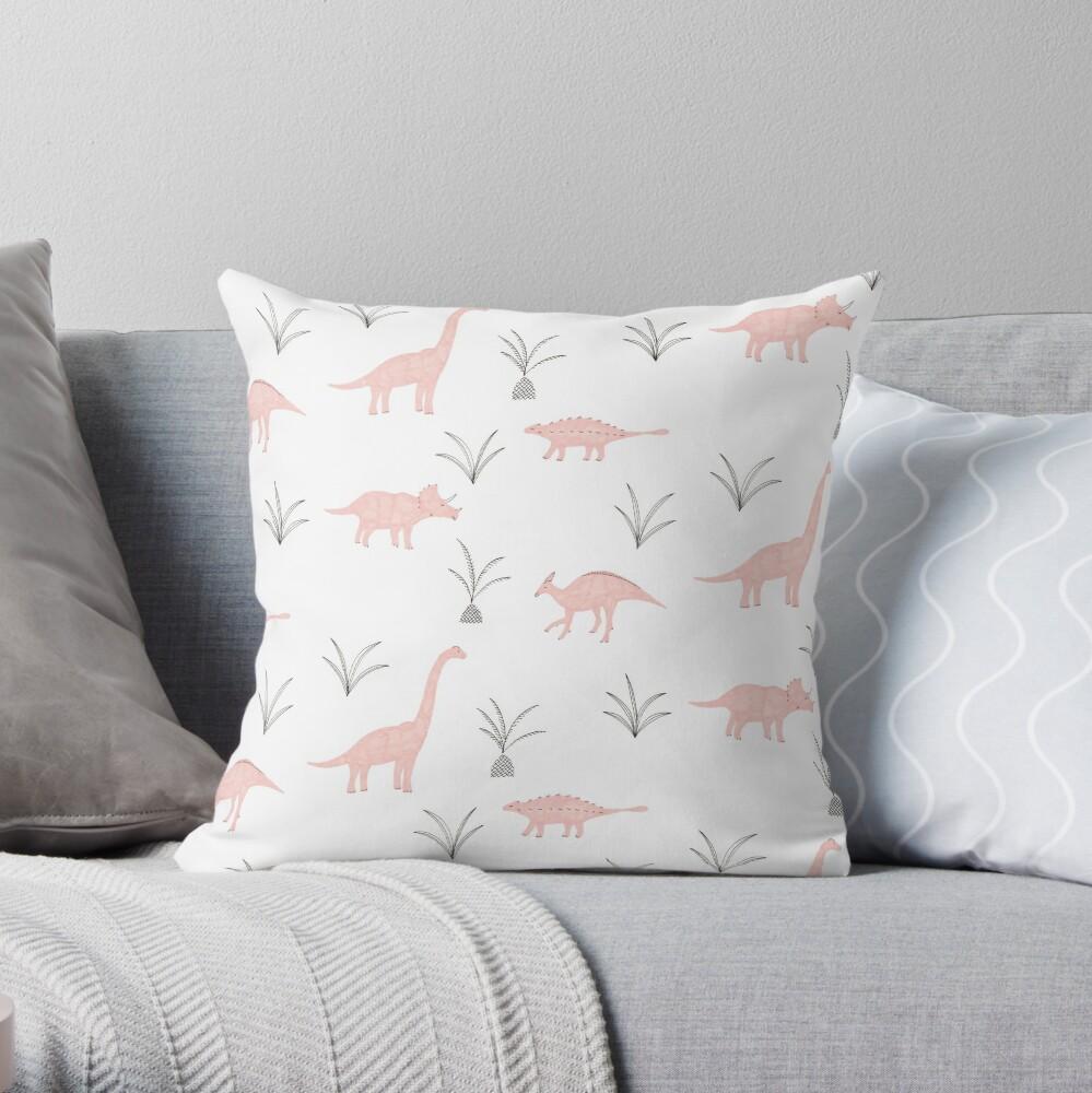 Pink Dinosaurs Throw Pillow