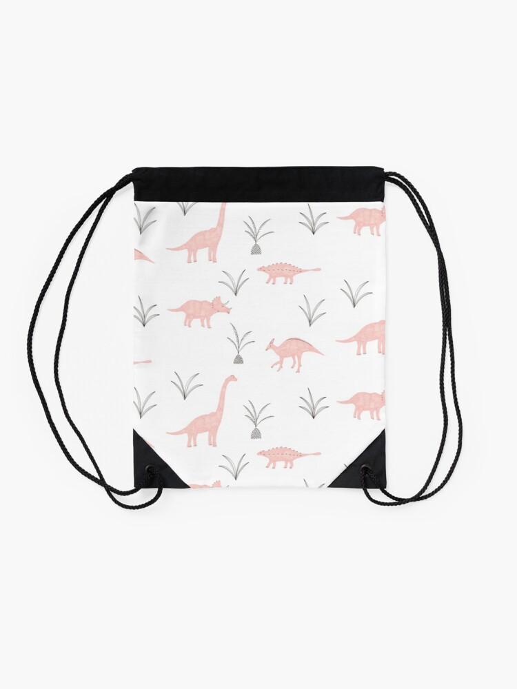 Alternate view of Pink Dinosaurs Drawstring Bag